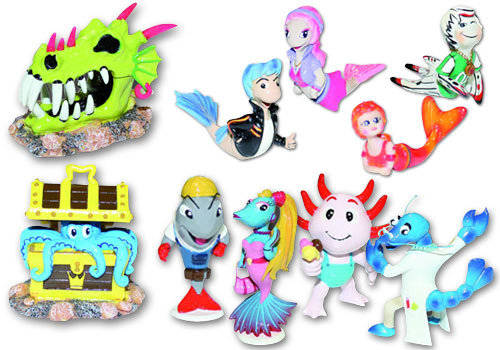 Decorations for aquariums Wave collection for kids
