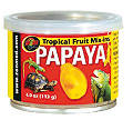 Papaya canned in syrup for reptiles
