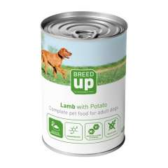 Alimento húmedo para perros Breed Up Adult cordero con patatas 400 gr
