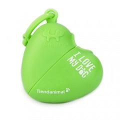 Dispensador de bolsas de corazón Tiendanimal verde