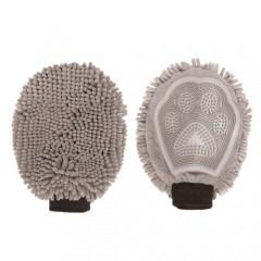 Manopla de microfibra y goma gris