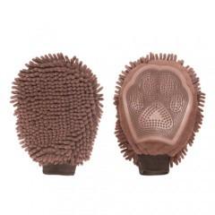 Manopla de microfibra y goma marrón