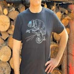 Camiseta para hombre Animal Totem camaleón color negro