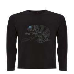 Camiseta unisex camaleón color Negro