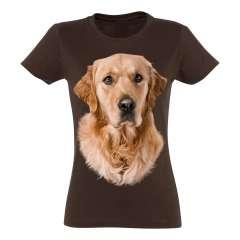 Camiseta Mujer Golden Retriever color Marrón