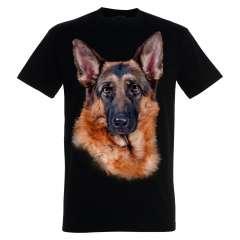 Camiseta unisex negra estampado de pastor alemán