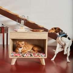 Mesilla de madera cama para perros color Violeta Señales