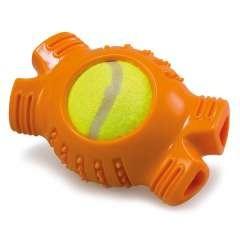 Hueso con pelota de tenis para perros color Naranja