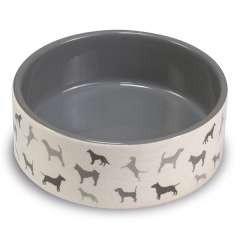 Comedero de cerámica perritos color Gris