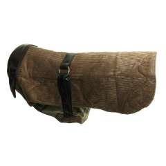 Abrigo de pana y piel para perros color Marrón