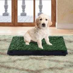 Inodoro Pawhut con cajón efecto hierba para perros color Negro/Verde