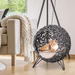 Cama cueva de ratán PawHut para gatos color Gris