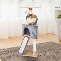Rascador con cueva PawHut para gatos color Gris/Beige