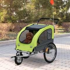 Remolque de bicicleta PawHut para perros color Verde/Negro