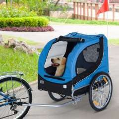 Remolque de bicicleta PawHut para perros color Azul/Negro