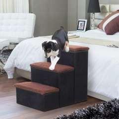Escalera PawHut de 3 escalones para mascotas color Negro