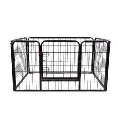 Parque PawHut con valla y puerta para mascotas color Negro