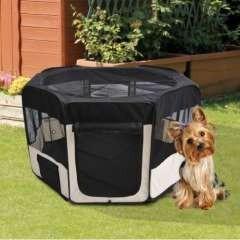 Parque plegable PawHut para perros color Negro/Beige
