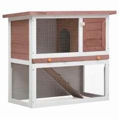Conejera de exterior con puerta para conejos color Marrón