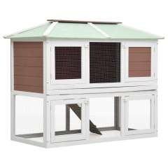 Jaula de 2 pisos para animales color Blanco y Marrón