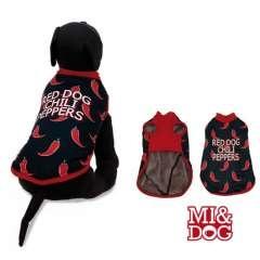 Abrigo con capa felpado Red Dog para perros color Negro y Rojo