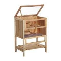 Jaula de madera para hamster color Madera natural