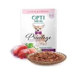 Optimeal sin cereales pienso húmedo para perros de razas pequeñas y mini Ternera y Pollo