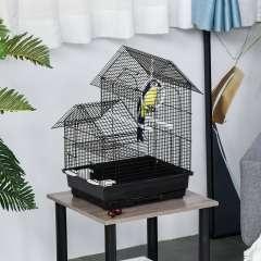 Jaula de metal con columpio para pájaros color Negro
