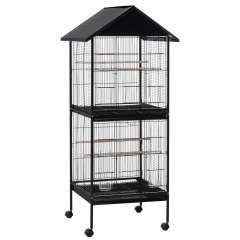 Jaula grande de 2 pisos para pájaros color Negro