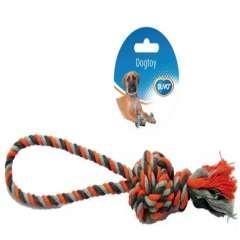Juguete de cuerda con asa y bola anudada para perros