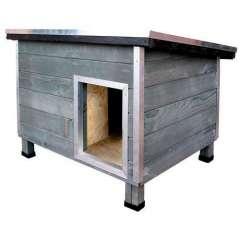 Caseta robusta de madera para perros Nevada Gris