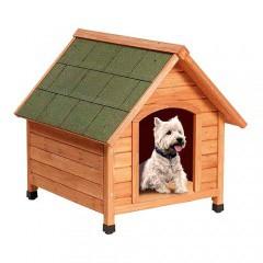 Caseta para perros TK-Pet Woof con techo a dos aguas y puerta