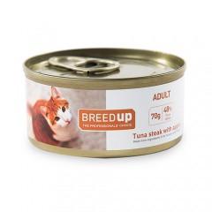 Comida húmeda para gatos Breed Up Adult de atún con manzana