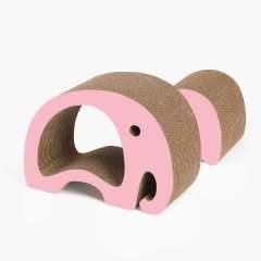Rascador Zoo 2 en 1 en forma de Elefante para gatos color Rosa