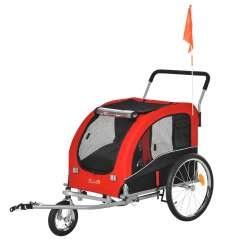 Remolque Pawhut de bicicletas para mascotas color Rojo