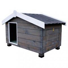 Caseta de madera con porche para perros Mountain Gris