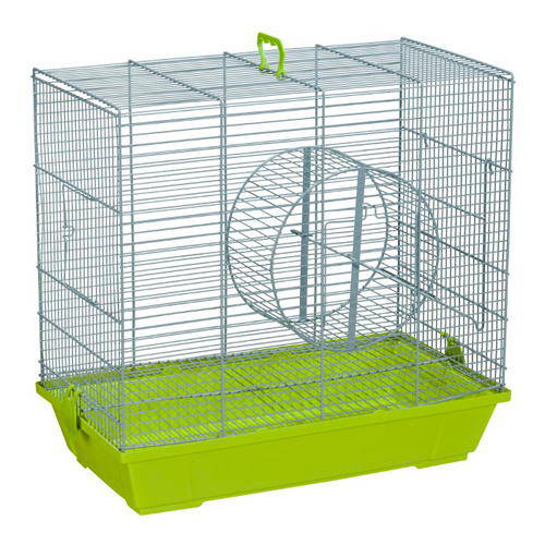 Cage for squirrels with metal wheel