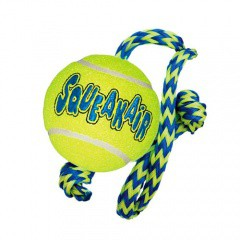 KONG Air Dog Squeakair pelota de tenis con cuerda para perros